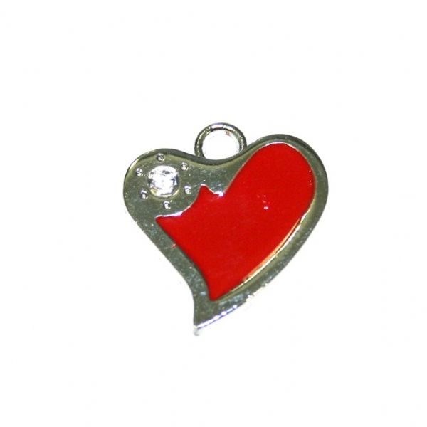 1 x 21*19mm rhodium plated red curved heart enamel charm with rhinestone - SD03 - CHE1268